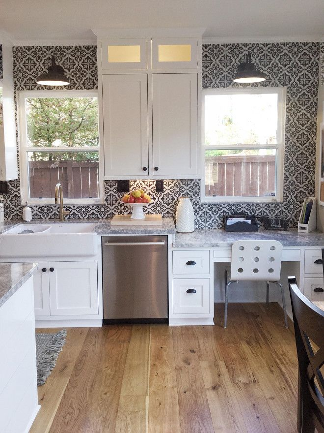 Black and white cement tile backsplash Farmhouse