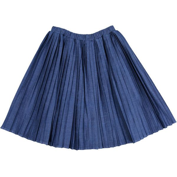 Ava Lu The Denim Nautical Skirt ($55) ❤ liked on Polyvore featuring skirts, pleated denim skirt, nautical skirt, blue denim skirt, blue skirt and denim skirt