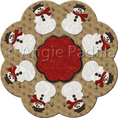 Snowmen Candle Mat | Eight little snowmen are sure to delight collectors. And do not feel you need to follow the colorway seen here... choose your own favorite fabrics. Why not let each snowman have his very own color scarf?