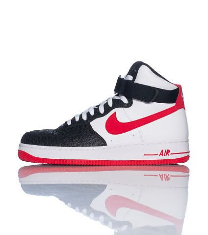 NIKE Air Force Ones High top men's sneaker Lace up closure Padded tongue  with NIKE logo Leather material Contrasting trim Cushioned sole for comfort