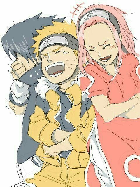 Team 7, Naruto, Sakura, Sasuke, laughing, funny; Naruto