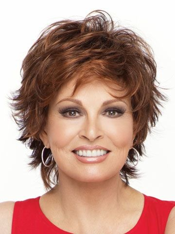"Raquel;s face framing ""The Entice""...a short shag with collar length back ...slightly textured layers,,,built in volumn... Welch Entice Synthetic Wig • Raquel Welch"