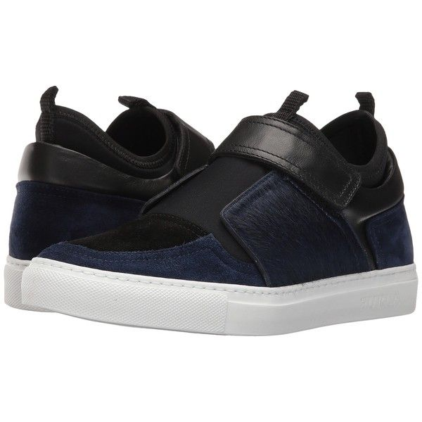 Furla Fantasia Sneaker (Navy) Women's Shoes (625 CAD) ❤ liked on Polyvore featuring shoes, sneakers, navy blue shoes, velcro sneakers, velcro strap shoes, slip-on shoes and slip on trainers