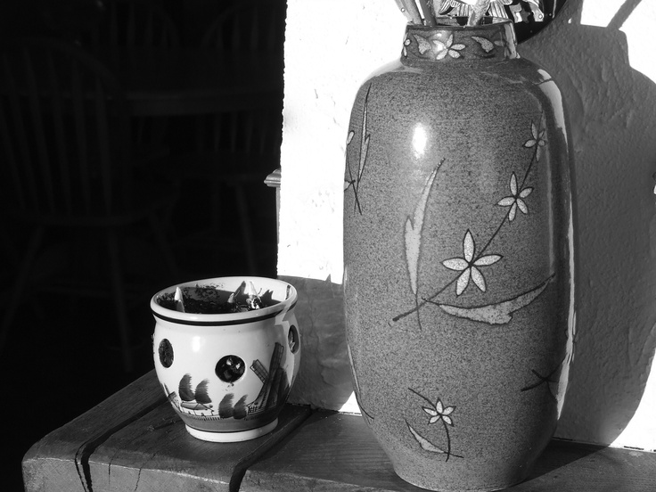 from auction; a hand- turned and decorated Jasmine vase