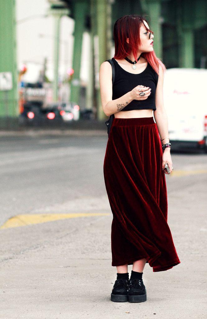 Black crop top, red velvet maxi skirt, T.U.K. creepers, Luanna Perez-Garreaud