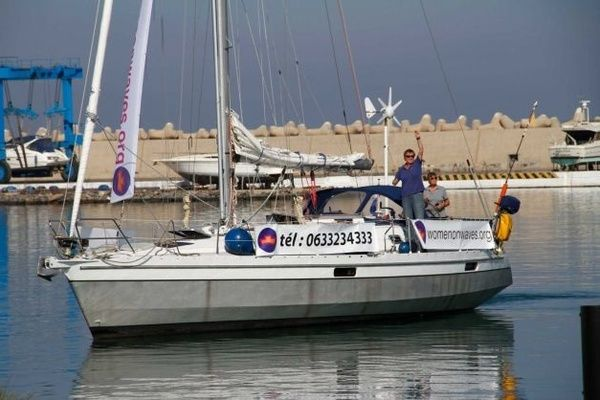 Picture of the boat campaign of Women on Waves in Morocco