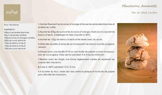 Lenôtre - Macarons Amaretti http://www.lenotre.com/media/pdf/lenotre_recette_macarons_amaretti.jpg