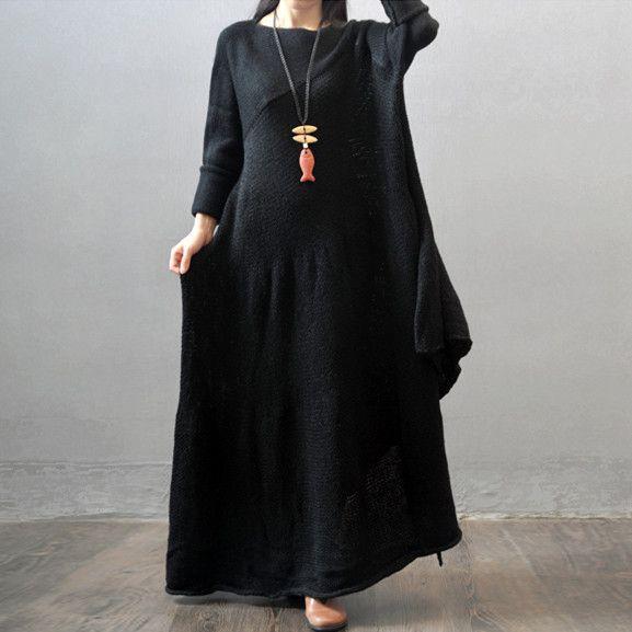 Casual loose women winter and autumn long sleeve woolen sweater dress - Tkdress  $79.00