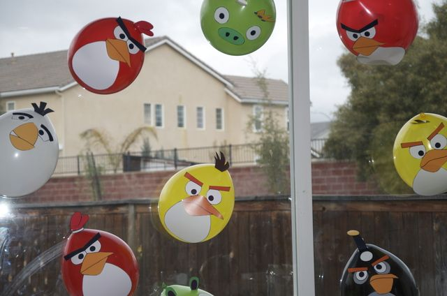 Balloons at an Angry Birds Party #angrybirds #balloons