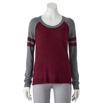 Juniors' Pink Republic Raglan Long Sleeve Football Sweater-Knit Top