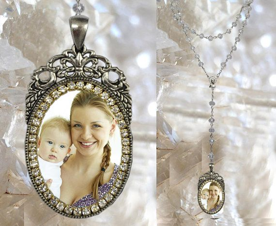 Custom Rosary with YOUR PHOTO Handmade medal Jewelry Pendant (White Color)