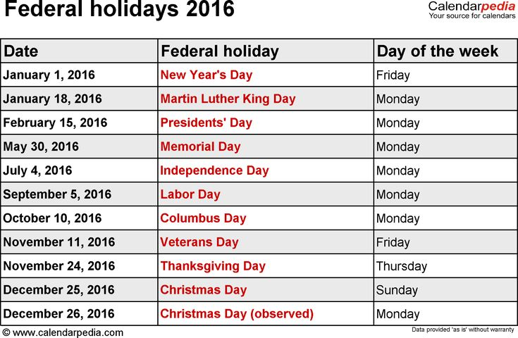calendar 2016 with holidays - Google Search