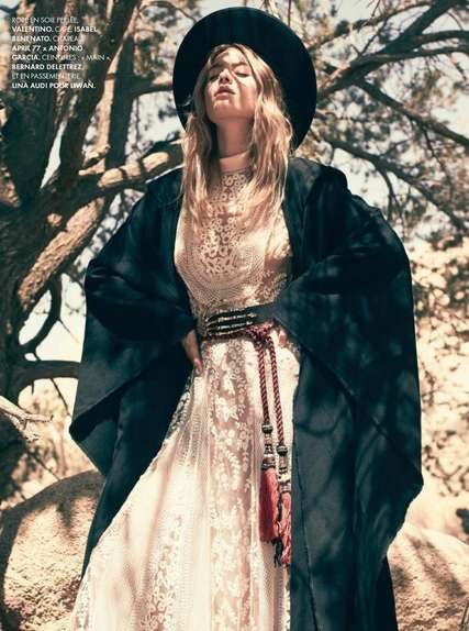 boho lace and leather fashion | Desert-Ready Boho Fashion - The Laid-Back Camille Rowe Stars in ...
