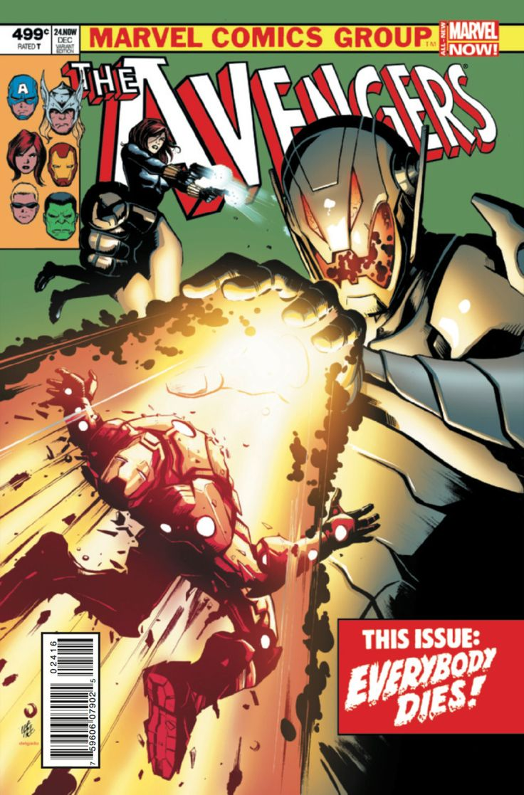 Ultron. As far as I'm aware, he's the villain in Avengers 2. Avengers #24 - Rogue Planet - Garbett variant (Issue)