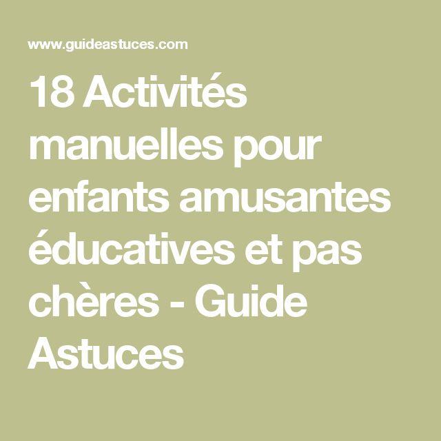 18 Activités manuelles pour enfants amusantes éducatives et pas chères - Guide Astuces