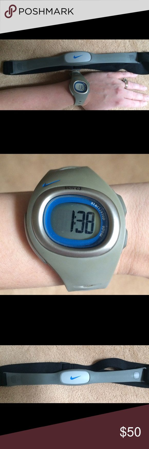 Nike Watch Nike Triax C3 watch with heart monitor. In great condition. Never used the heart monitor. Nike Accessories Watches