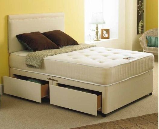 Bali 4ft 6in Double Divan Bed And Orthopaedic Mattress In Stone Suede