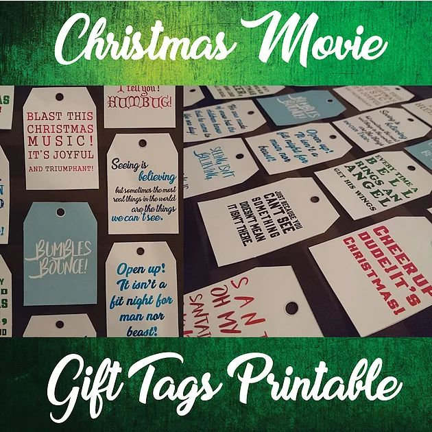 Today I have created 3 different sets of printables to share with you.The first one is a set of Christmas Movie quotes on gift tags. I had seen these flo