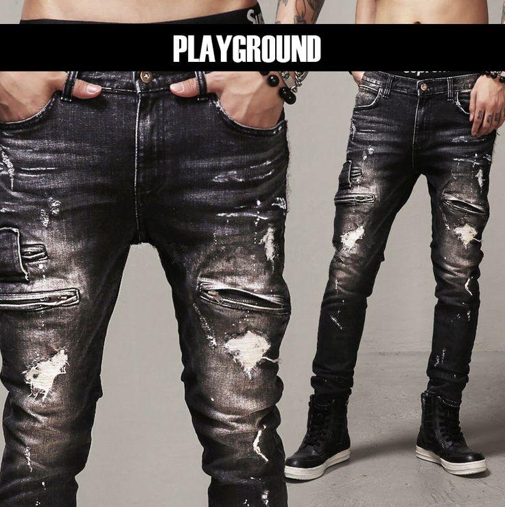 >> Click to Buy << Mens Skinny Jeans Paris Runway Distressed Slim Elastic Jeans Denim Biker Ripped Jeans Hip Hop Pants Acid Washed Black Jeans Men #Affiliate