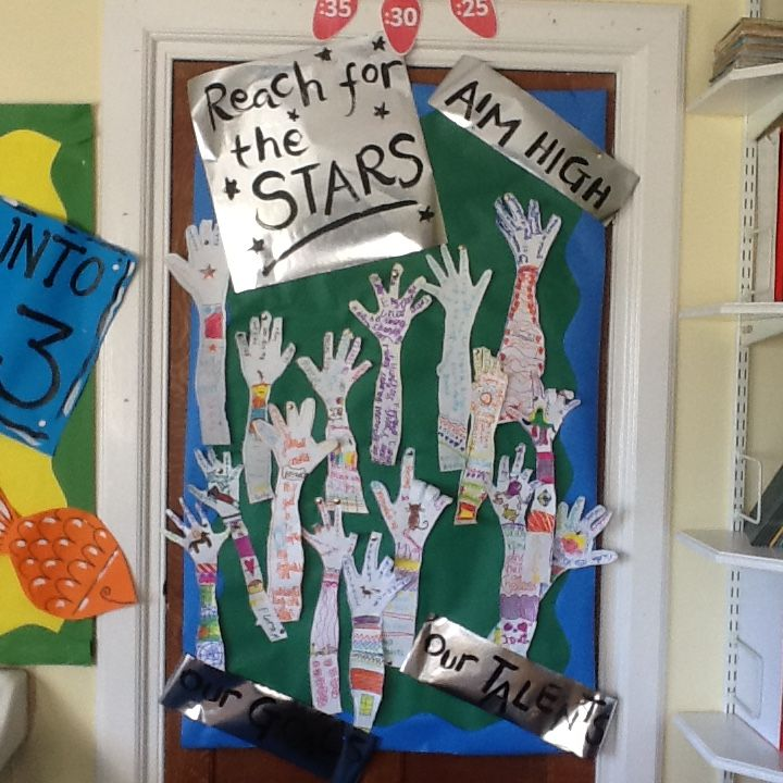The children write their targets for the year on their hands. Aim high is our school motto!