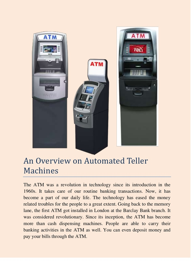 an-overview-on-automated-teller-machines by Adam Smith via Slideshare