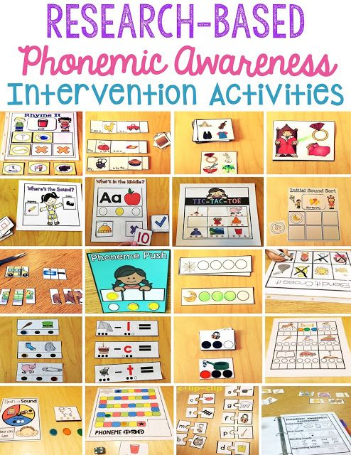 These phonemic awareness activities are perfect for intervention groups or small groups of kindergarten and pre-kindergarten  students who are developing their phonemic awareness skills. Skills include: rhyming, phoneme segmenting, phoneme blending, isolating medial sounds, initial sound identification, initial sound sorting, phoneme deletion, phoneme adding, substituting phonemes, phonemic awareness assessment, phonemic awareness games,  and picture cards to use with any activity.