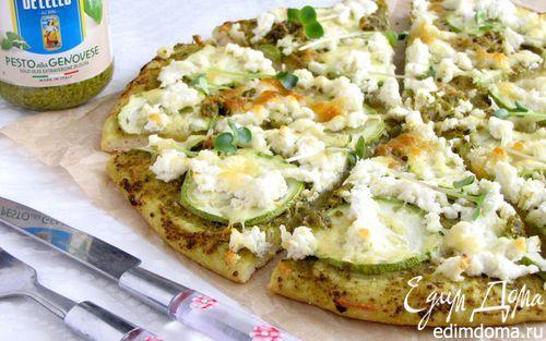 Пицца с цукини, рикоттой и соусом песто | Кулинарные рецепты от «Едим дома!»