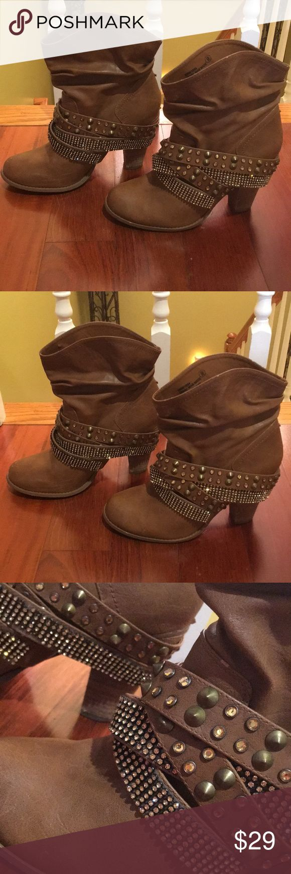 Jeweled Ankle Boots size 10 Jeweled Ankle Boots size 10/women's. Worn a couple of times. EUC overall great condition. Beautiful Boots with lots of flare. Brand Not Rated. Camel colored tan. Offers will be considered. Get these while you can, these boots will sell quickly. boutique Shoes Ankle Boots & Booties
