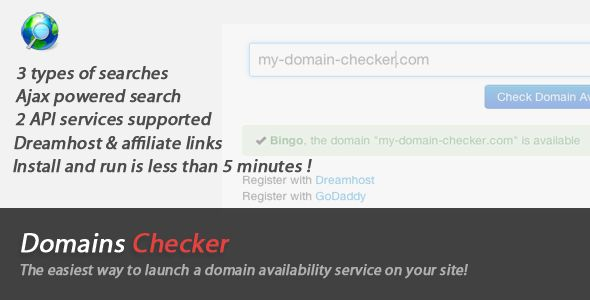 Domains Names Checker . This app enables you to have a domains names checker on your website. The app can run in 3 different  search modes (including an AJAX search and an instant search). It's based on 2 different API providers. You can set which one to use from the config