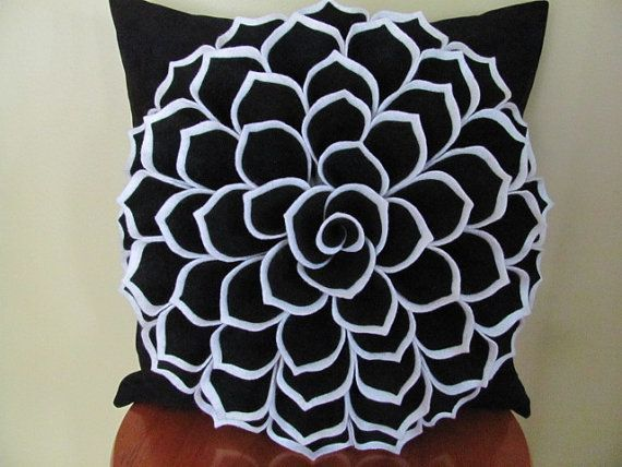 Decorative Pillow Pattern SOPHIA FLOWER Felt by SewYouCanToo, $6.00