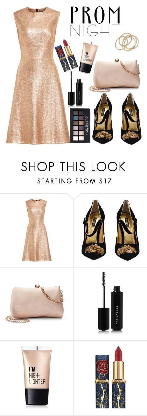 """""""prom gold"""" by deboraaguirregoncalves on Polyvore featuring Lela Rose, Dolce&Gabbana, LC Lauren Conrad, Maybelline, Marc Jacobs, Charlotte Russe and ABS by Allen Schwartz"""