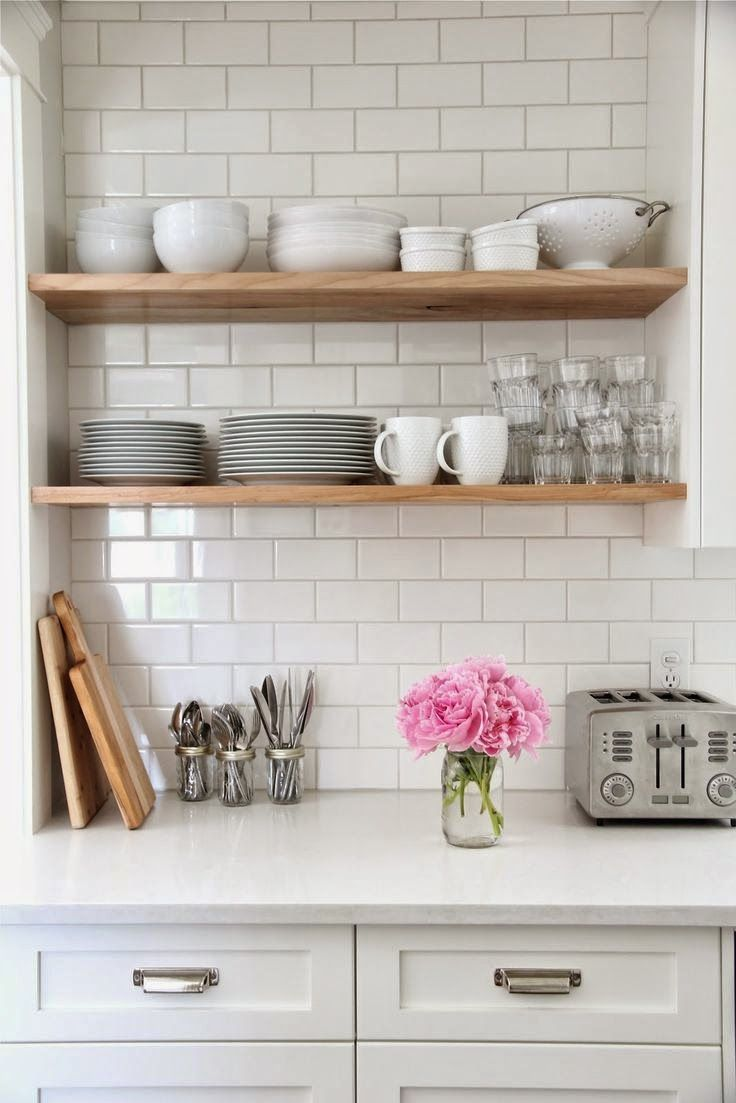 These DIY style shelves are so easy to install and create a beautiful display for your favorite cookware!