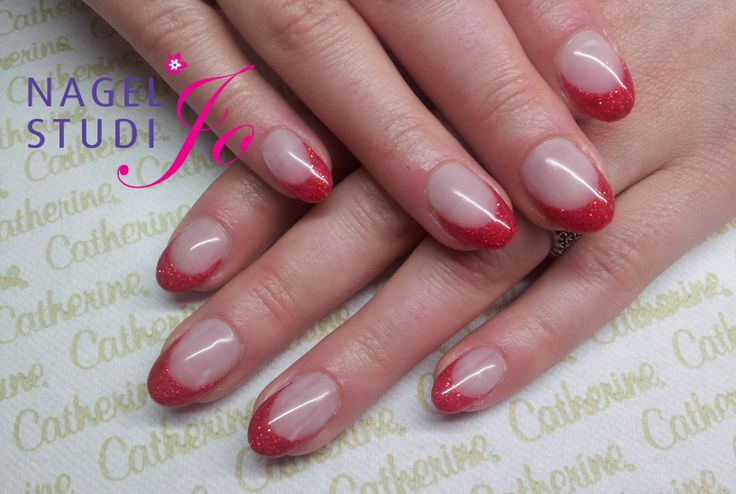 French met glimmer gel Fashion Red
