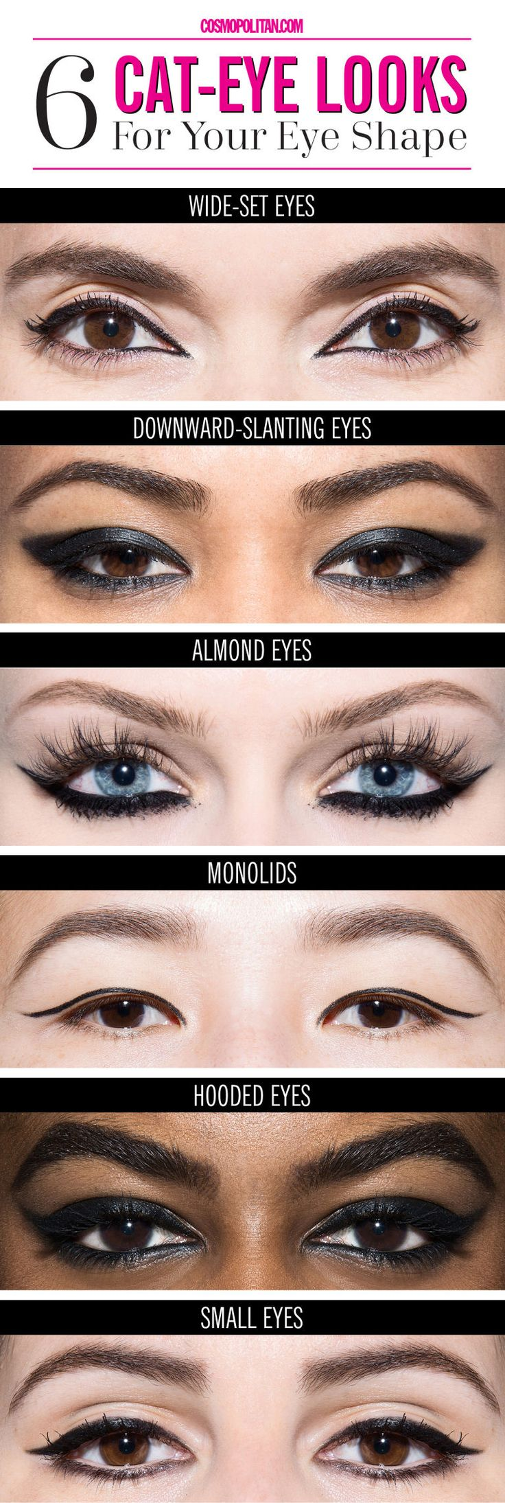 When it comes to eyeliner, there isn't a winged shape that is going to make your eyes look bad, but there are certain tricks that you can use for different eye shapes — they can even bring symmetry to asymmetrical eyes.