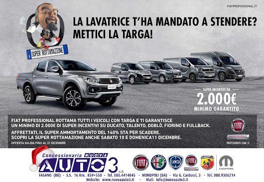 FIAT PROFESSIONAL ROTTAMA TUTTI I VEICOLI CON TARGA E TI GARANTISCE UN MINIMO DI 2000 € DI SUPER INCENTIVI. http://www.nuovaauto3-fcagroup.it/fiatprofessional/promozioni