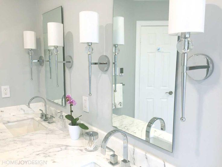 HOME JOY DESIGN | Master bathroom marble vanity with sconces