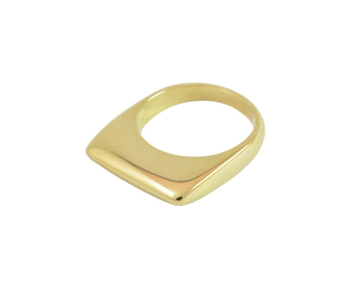 Wafer Ring. A soft knife edge caps this 18k gold wafer ring. Get a snug fit as the ring is top-heavy solid gold. Matte or high polished finish.