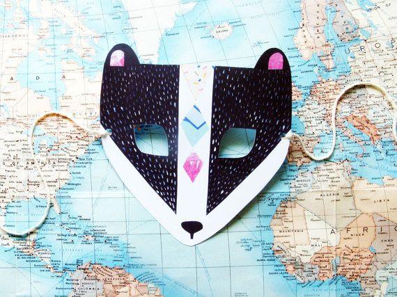 Masque en papier blaireau un mariage Woodland Forest par kissmego