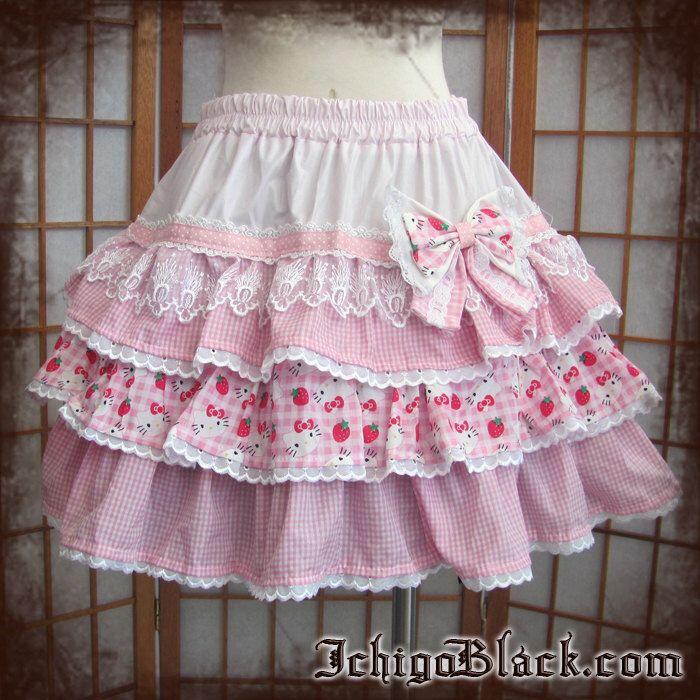 Pink gingham hello kitty skirt by ichigoblack on Etsy https://www.etsy.com/listing/109682722/pink-gingham-hello-kitty-skirt