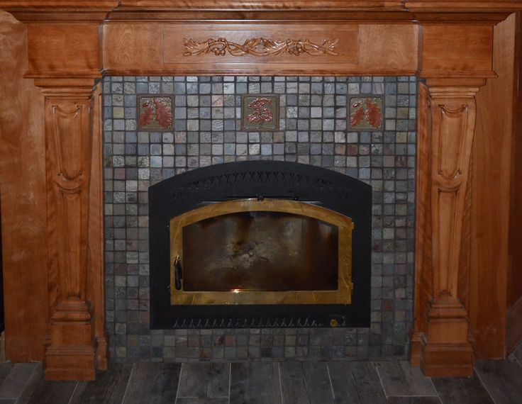 """This tiled fireplace uses 3"""" slate field tile and three 6"""" accent tile by Fay Jones Day Tile.  #Tiles fireplace  #Fireplace tile  #Fay Jones Day Tile"""
