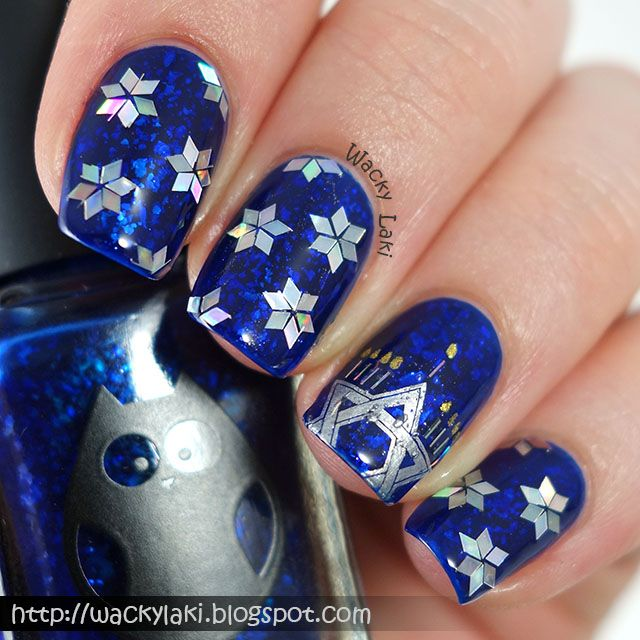 nail art! Hanukkah Sparkles!