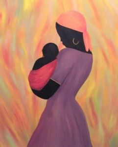 Mother and Child; acrylic paint on canvas inspired by Rwandan art