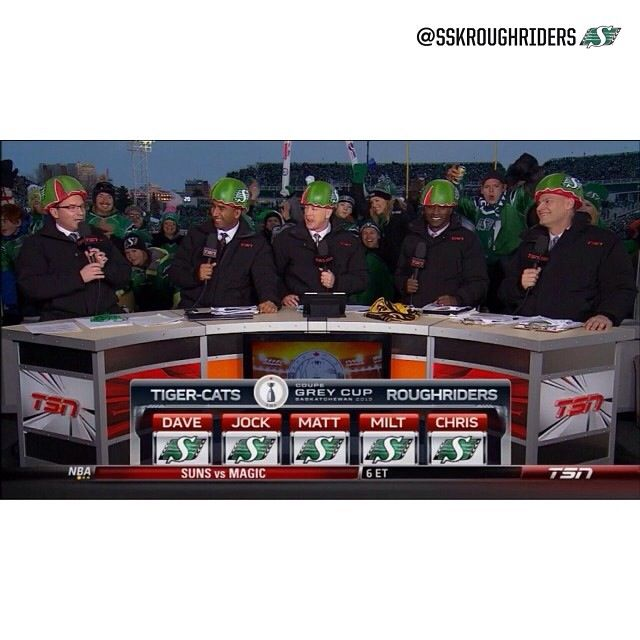 The guys of TSN cheering for the Riders !! Wow. Love it !!!