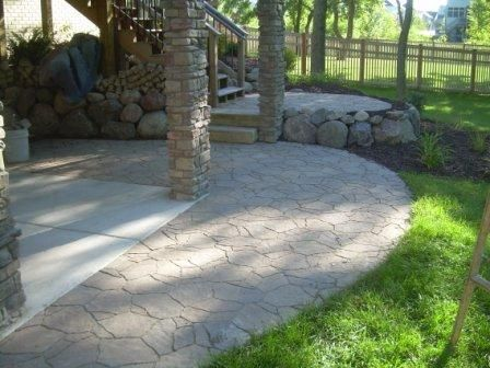Arbel paver 39 s used to extend a concrete patio for the for Backyard patio extension ideas