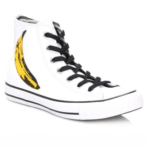 All Star Andy Warhol Hi White And Black Leather Trainers (3.295 RUB) ❤ liked on Polyvore featuring shoes, sneakers, white and black shoes, leather sneakers, real leather shoes, black and white leather shoes and star sneakers