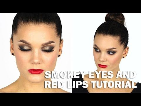 Smokey eyes and red lips tutorial (with subs) - Linda Hallberg Makeup Tutorials - YouTube