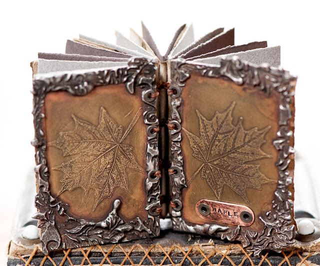 Maple - handmade book by Leslie Marsh of Snips and Snails and Puppy Dog Tails 2013 | pages made of papers dyed with last fall's nine bark leaves  #mixed_media #book_arts