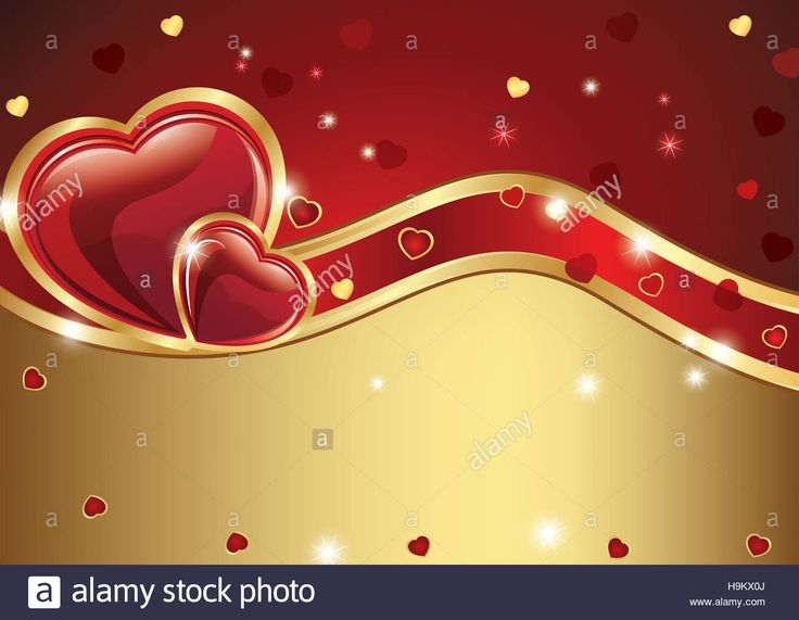 Love golden red background with hearts. Can be used as greeting card for Valentine's Day. Copy space for your own text. Stock Photo