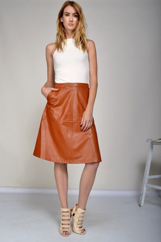 Category: Skirt Brand: Sugar Luxe Society Description: Faux Leather A-line Skirt, - MACHINE WASH COLD / DRY CLEAN