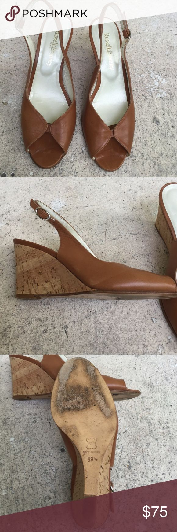 "Russell & Bromley London Natural color cork sling backs, beautiful shoes. Says sz8.5 but fit like an 8. In very good condition 3"" heel Russell & Bromley Shoes"